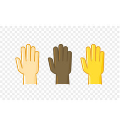 Different color hand gesture comic style icon palm vector