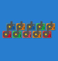 dj vinyl player turntable pattern retro style vector image