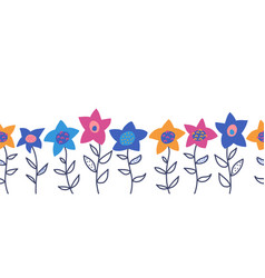 doodle flowers seamless border cute vector image