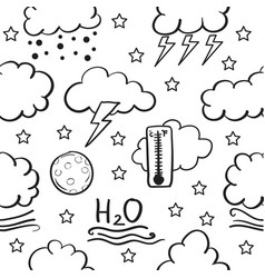 Doodle of weather cloud and wind vector