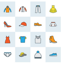 dress icons colored line set with gumshoes hoodie vector image