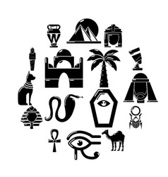 egypt travel icons set simple style vector image