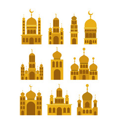 Eid mubarak set temples facades colorful vector