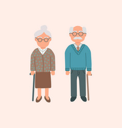 elderly cartoon couple grandmother and vector image