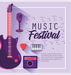 electric guitar with radio to music festival vector image