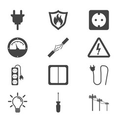 electricity icon in flat style on white background vector image