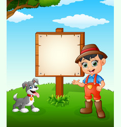 farmer cartoon on farmland with blank sign vector image