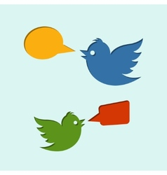 Flying birds with speech bubbles vector