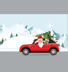 Funny santa claus and reindeer is driving a red vector