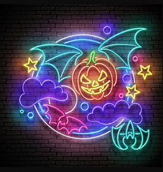 Glow halloween greeting card with flying vampire vector