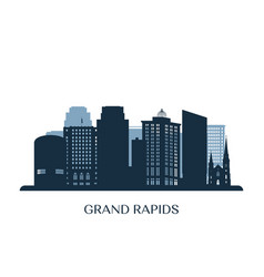 grand rapids skyline monochrome silhouette vector image