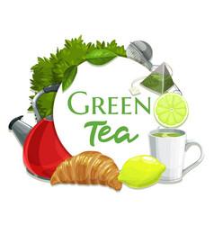 green tea banner hot beverage round frame vector image