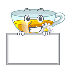 grinning with board cup chamomile tea cartoon vector image