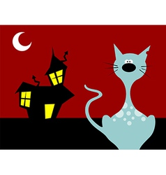 Halloween night cat vector image
