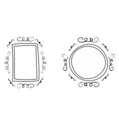 Hand drawn decorative frames isolated on white vector image