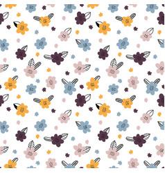 hand drawn floral seamless pattern scandinavian vector image