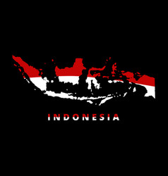 Indonesia map red and white state vector