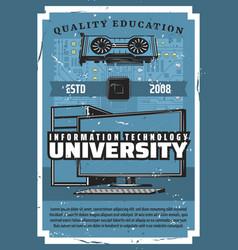 information technology university it education vector image
