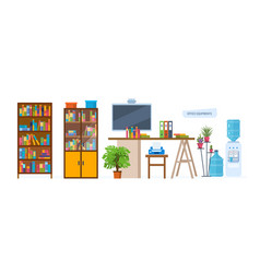 Interior of office with decorations workplace vector