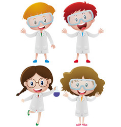 Kids in science gown and goggles vector