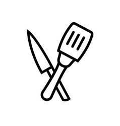 knife and spoon symbol icon vector image