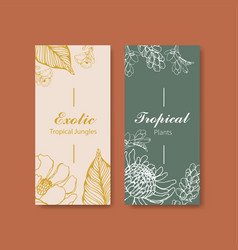Line art tropical flyer design for hotel vector