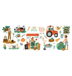 Local organic production set agricultural workers vector