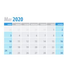 May calendar planner 2020 in clean minimal table vector