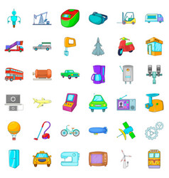 Mechanical icons set cartoon style vector