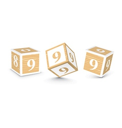 Number 9 wooden alphabet blocks vector