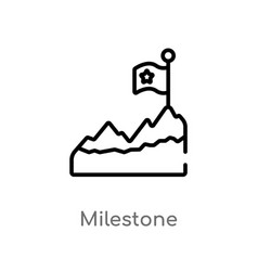 Outline milestone icon isolated black simple line vector