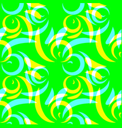pattern of yellow and blue doodles and curls in vector image
