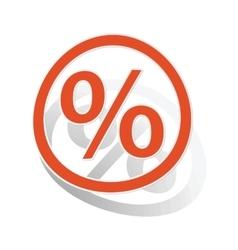 Percent sign sticker orange vector