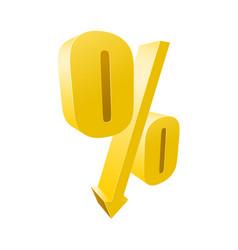 Percentage yellow symbol - 3d discount sign vector