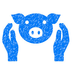 pig care hands icon grunge watermark vector image