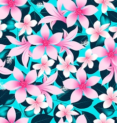 Pink tropical hibiscus flowers with blue leaves vector