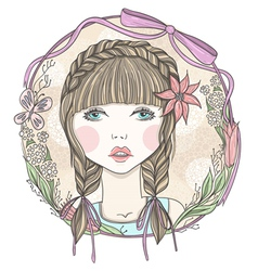 Pretty girl with flowers and butterfly elements vector