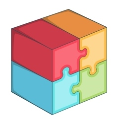 Puzzle cube icon cartoon style vector