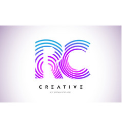 Rc lines warp logo design letter icon made with vector