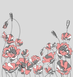 Red poppies on a gray background vector