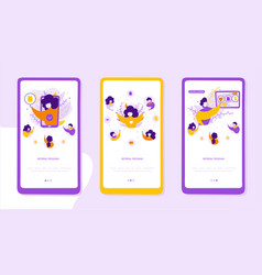 referral program onboarding mobile app page vector image