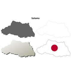 Saitama blank outline map set vector