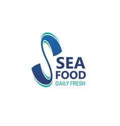 seafood icon daily fresh sea food emblem design vector image