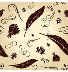seamless background handwritten ancient feathers c vector image