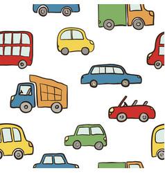 seamless pattern hand drawn cute cartoon cars vector image