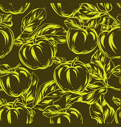 seamless pattern with apples and leaves vector image