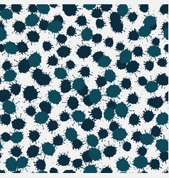 Seamless pattern with dark blue ink blobs vector