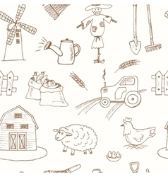 Seamless pattern with Organic farm hand drawn vector