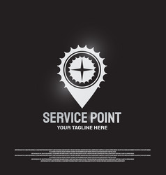 Service point logo design with gears and compass vector