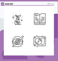 Set 4 modern ui icons symbols signs for budget vector
